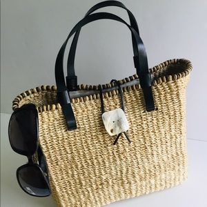 Nine West Mini Square Straw Tote-Hand Summer Bag